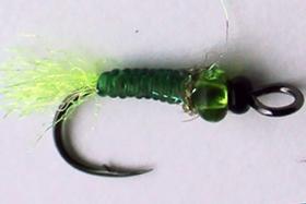 Зимняя мушка подвеска зеленая